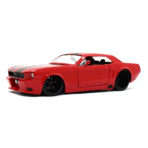 Ford Mustang USA Coupe Custom 1965 Vermelho 1/24 Jada Toys Big Time Muscle