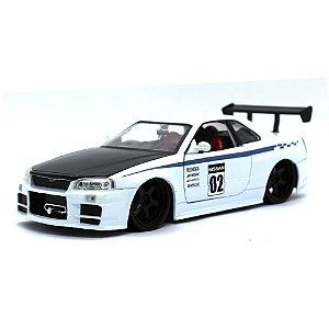 Nissan Skyline GT-R R34 N2 Racer 2002 Branco 1/24 Jada Toys JDM Tuners