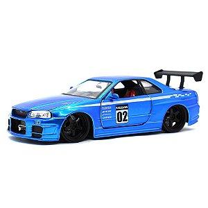 Nissan Skyline GT-R R34 N2 Racer 2002 Azul 1/24 Jada Toys JDM Tuners