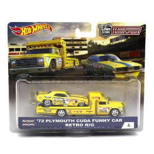 Plymouth Cuda Funny Car 1972 Retro Rig 1/64 Hot Wheels Team Transport Car Culture