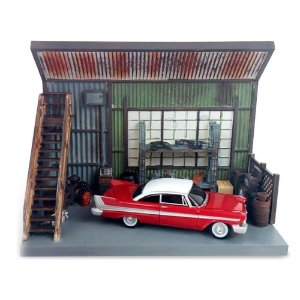 Diorama Christine Plymouth Fury 1958 Darnell's Garage 1/64 Auto World