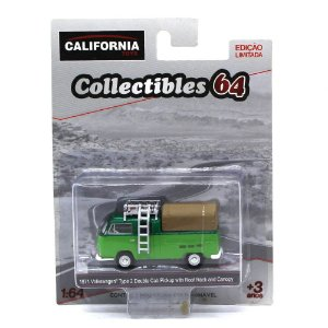 GREEN MACHINE Volkswagen Kombi Type 2 Cabine Dupla Pickup 1971 1/64 Greenlight California Collectibles 64