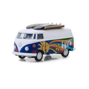Volkswagen Kombi Type 2 Panel Van 1970 e Prancha de Surf The Hobby Shop Series 4 1/64 Greenlight