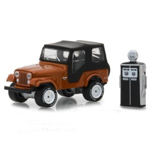 Jeep CJ5 1974 e Bomba de Combustivel Vintage The Hobby Shop Series 5 1/64 Greenlight