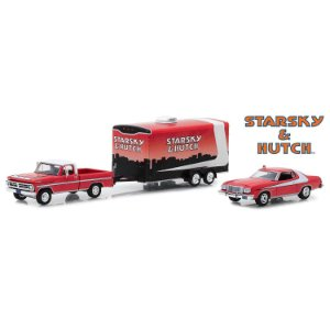 Ford F-100 1972 e Ford Gran Torino 1976 Starsky & Hutch Trailer 1/64 Greenlight Hitch & Tow Serie 5