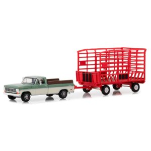 Ford F100 Farm 1969 e Trailer Hitch & Tow Serie 15 1/64 Greenlight