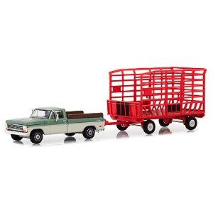 Ford F100 Farm 1969 e Trailer Hitch & Tow Serie 15 1/64 Greenlight