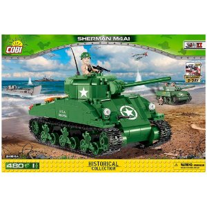 TANK AMERICANO SHERMAN M4A1 BLOCOS PARA MONTAR COM 480 PEÇAS COBI