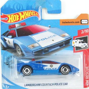 Lamborghini Countach Police Car HW Rescue 1/64 Hot Wheels