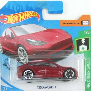 Tesla Model 3 HW Green Speed 1/64 Hot Wheels