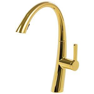 Misturador Monocomando Gourmet Extensível Dourado MVG08