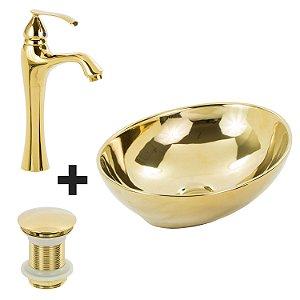 Cuba Redonda Dourada + Misturador Dourado + Válvula Click