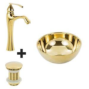 Cuba de Apoio Mini Dourada + Misturador Dourado + Válvula Click