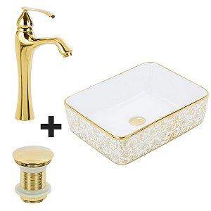Cuba de Apoio Retangular Dourada + Misturador Dourado + Válvula Click