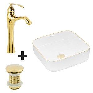 Cuba de Apoio Quadrada Dourada + Misturador Dourado + Válvula Click