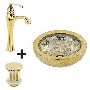 Cuba de Apoio Redonda Dourada + Misturador Dourado + Válvula Click