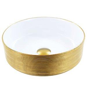 Cuba de Apoio Redonda Branca & Gold Dourado 11x36x36cm