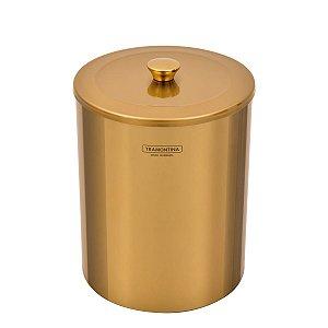 Lixeira Tramontina Útil Aço Inox Polido Gold 5L