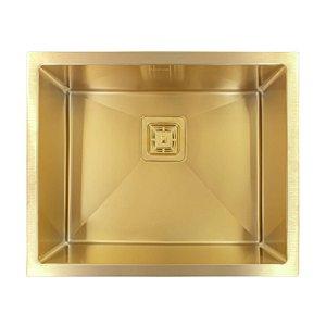 Cuba Pia Inox Quadrada Aço Escovado 550 Gold Dourado