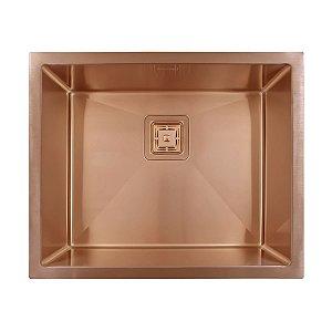 Cuba Pia Inox Quadrada Aço Escovado 550 Rose Gold