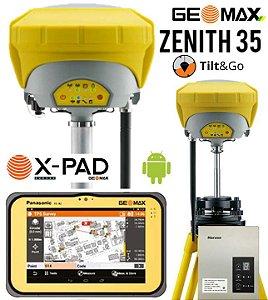 GeoMax GNSS Zenith35 Pro RTK Base e Rover TAG com Tablet e Rádio Externo 35W