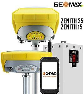 GeoMax Zenith15 Base e Zenith35 Pro Rover TAG GNSS RTK com Coletora Android e Rádio Externo 10W