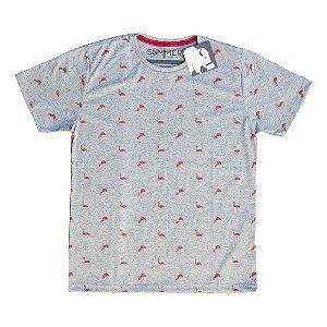 Camiseta Estampada Flamingos Mescla 4204