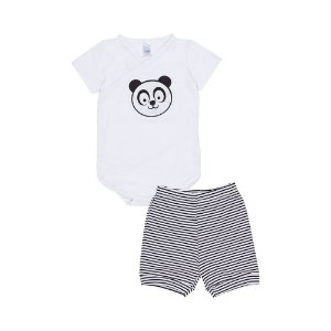 Conjunto Body e Short Panda - Bebê - Branco - Masculino