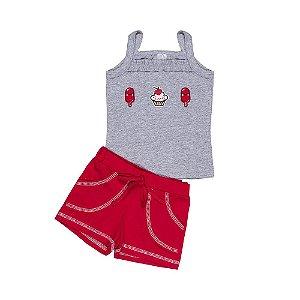 Conjunto Regata Patch e Short - Bebê - Mescla/Vermelho - Feminino