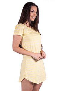 Vestido Listrado Com Bolso Amarelo 3234
