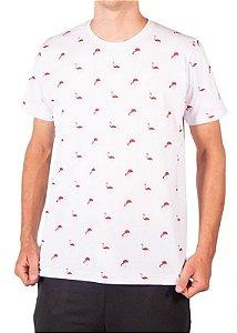 Camiseta Estampada Flamingos Branca 4204