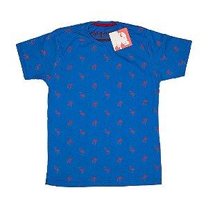 Camiseta Estampada Flamingos Azul 4204