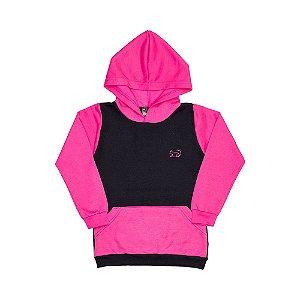 Casaco Moletom Preto e Pink Capuz Bolso Canguru 2124