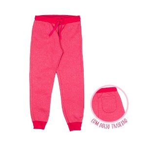 Calça Moletom Bolso Traseiro Glitter Pink 0025