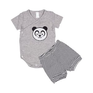 Conjunto Body e Short Panda - Bebê - Mescla - Masculino