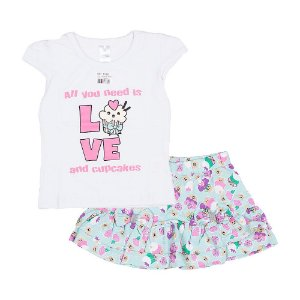 Conjunto Blusa e Short - Bebê - Branco/Verde - Feminino