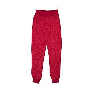 Calça Moletom Com Punho Vermelha 2130