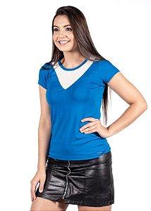 Blusa Com Recorte V Azul 192253