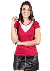Blusa Com Recorte V Vermelha 192253