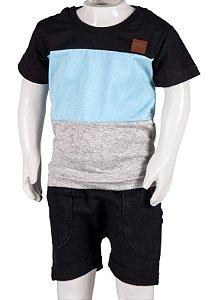 Conjunto Camiseta e Bermuda Preto Azul e Mescla 192107