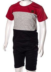 Conjunto Camiseta e Bermuda Vermelho Mescla e Preto 192107