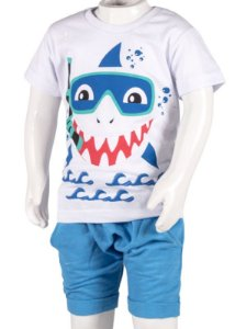 Conjunto Camiseta e Bermuda Saruel Branco e Azul 192109