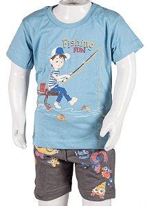Conjunto Camiseta e Bermuda Azul e Cinza 192100