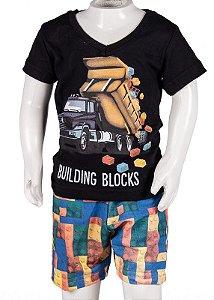 Conjunto Camiseta V e Bermuda Preto 192102