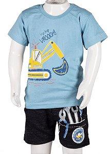 Conjunto Camiseta e Bermuda Com Bolso Azul e Preto 192104