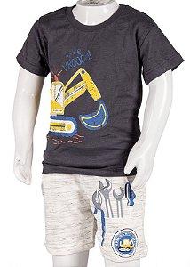 Conjunto Camiseta e Bermuda Com Bolso Chumbo e Off White 192104