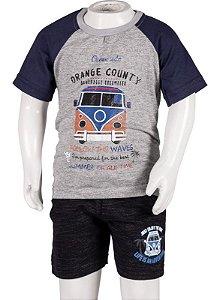 Conjunto Camiseta e Bermuda Com Bolso Mescla e Preto 192105