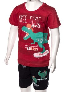 Conjunto Camiseta e Bermuda Vermelho e Preto 192100
