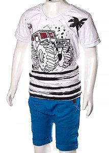 Conjunto Camiseta e Bermuda Branco e Azul 192106