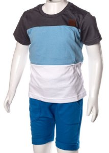Conjunto Camiseta e Bermuda Chumbo Azul e Branco 192107